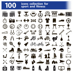 100 icons collection for sport and fitness