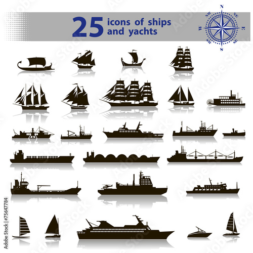 Fototapeta 25 icons of ships and yachts