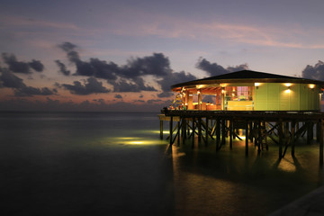 Evening time in resort at Maldives