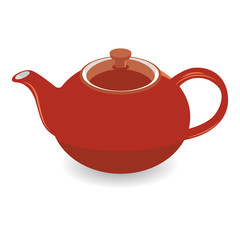Isolated Brown Clay Tea Pot, Vector Illustration