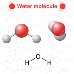 Water molecule: icon and chemical formula
