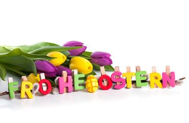 Frohe Ostern Text mit Tulpen