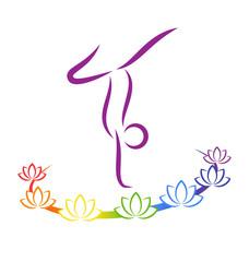 Emblem Yoga pose with chakra lotuses on grayscale background
