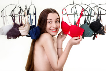 Woman choosing bras
