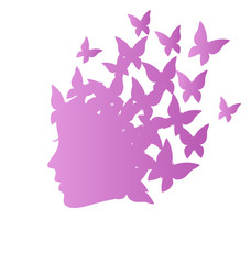 Icon with beauty woman profile with butterflies on grayscale bac