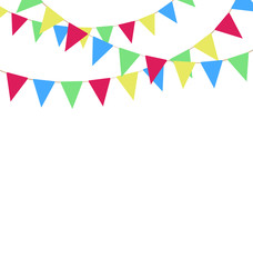 Multicolored bright buntings garlands isolated on white backgrou