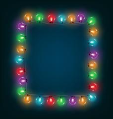 Multicolored glassy led Christmas lights garland like frame on b