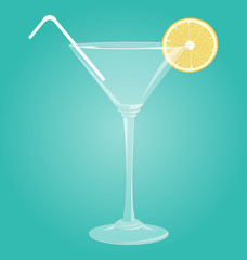 Empty glass for martini with lemon and plastic tube on blue back
