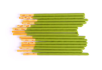 Matcha tea sticks isolated