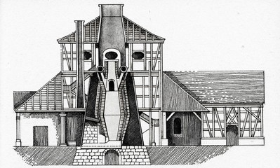 German charcoal blast furnace at Schmalkalden, 1835