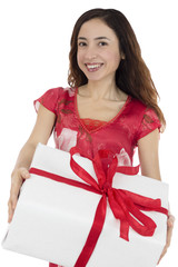 Valentines day and love woman carrying a gift package