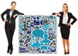 canvas print picture - Zwei Geschäftsfrauen lehnen an Social Media Icons