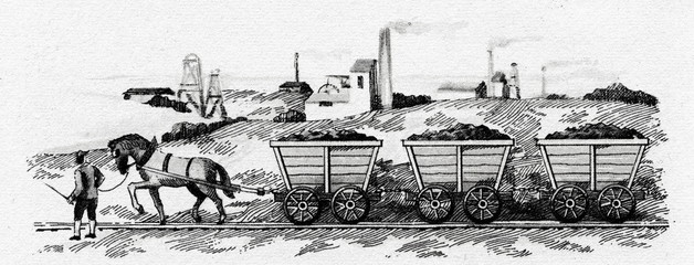 Horse-drawn railway for transporting coal (England, ca. 1800)