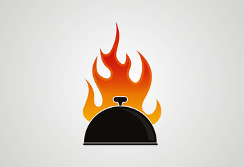 Barbecue fire cup logo vector