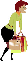 Exhausted woman carrying shopping bags