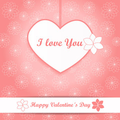 Valentine background - heart and flowers - pink vector