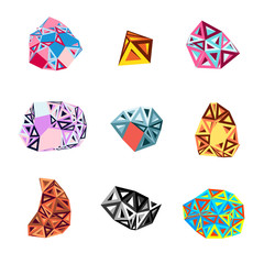 set of abstract shapes of triangles
