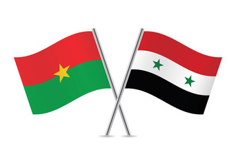 Burkina Faso and Syrian flags. Vector illustration.