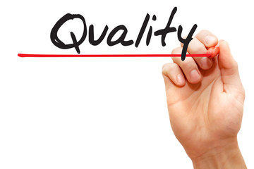 Hand writing Quality with red marker, business concept