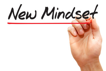 Hand writing New Mindset with red marker, business concept