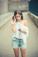 young beautiful woman girl autumn listening music