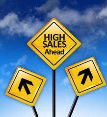 Higher sales ahead concept