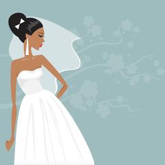 beautiful bride in a wedding dress. Vector illustration