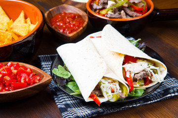 Mexican Chicken and Beef Fajitas with Vegetables and Tortillas