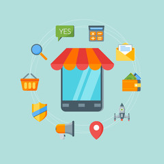 Flat design concept for online shopping