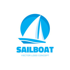 Sailboat - vector logo concept illustration. Ship sign.