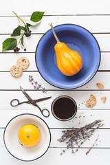 Vivid Color Pumpkins, Lavender Cookies and Coffee