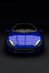 Studioaufnahme blauer Konzept Sportwagen - 3D Render