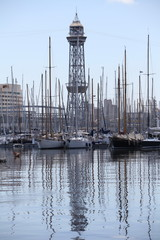 yachts in the harbor Marina Barcelona Spain