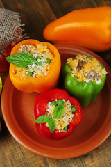 Peppers prepared for cooking with meat and rice,