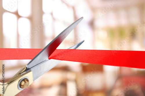 Grand opening, cutting red ribbon - 75656906