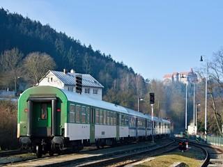 Train under castle