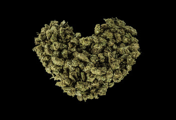 Green heart made of marijuana