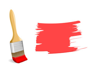 Paint brush with red paint stroke