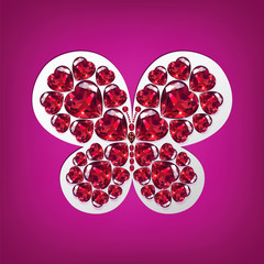 Bright butterfly of rubies heart-shaped