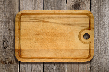 Cutting board on old wooden background