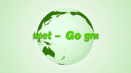 Save our planet text rotating around earth animation
