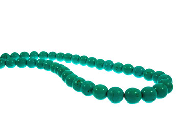 Beads are turquoise