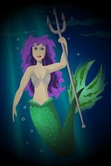Mermaid Trident in the Ocean