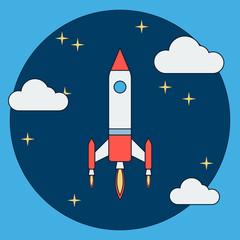 Cartoon rocket launch flat vector illustration