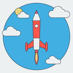 Cartoon rocket launch
