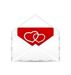 Open envelope with valentine postcard