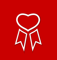 Red award ribbon for Valentines day