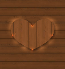Heart for Valentine Day on wooden texture