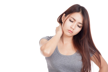 Young Asian woman got neck pain