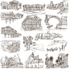famous places and architecture - hand drawings